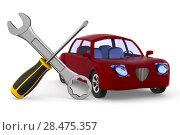 Купить «Car service on white background. Isolated 3D illustration», иллюстрация № 28475357 (c) Ильин Сергей / Фотобанк Лори