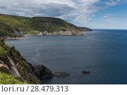 Купить «Scenic view of coastline, Meat Cove, Cape North, Cabot Trail, Cape Breton Island, Nova Scotia, Canada», фото № 28479313, снято 12 июня 2016 г. (c) Ingram Publishing / Фотобанк Лори