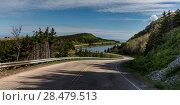 Купить «Scenic view of a coastal road, Pleasant Bay, Cape Breton Highlands National Park, Cape Breton Island, Nova Scotia, Canada», фото № 28479513, снято 12 июня 2016 г. (c) Ingram Publishing / Фотобанк Лори
