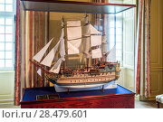 Купить «Close-up of miniature model of sailing ship, Fortress of Louisbourg, Louisbourg, Cape Breton Island, Nova Scotia, Canada», фото № 28479601, снято 13 июня 2016 г. (c) Ingram Publishing / Фотобанк Лори