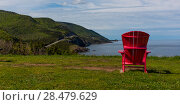 Scenic view of an adirondack chair at coast, Petit Etang, Cape Breton Highlands National Park, Cape Breton Island, Nova Scotia, Canada (2016 год). Стоковое фото, фотограф Keith Levit / Ingram Publishing / Фотобанк Лори
