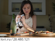Купить «Beautiful young woman eating homemade pizza and drinking red wine at home», фото № 28480121, снято 3 мая 2014 г. (c) Ingram Publishing / Фотобанк Лори
