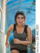 Купить «Healthy lifestyle beautiful woman running at the city urban background», фото № 28480581, снято 22 июня 2014 г. (c) Ingram Publishing / Фотобанк Лори