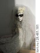 Купить «Halloween witch. Beautiful woman wearing santa muerte mask and wedding dress. Dead widow in grief», фото № 28481181, снято 21 сентября 2014 г. (c) Ingram Publishing / Фотобанк Лори