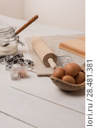Купить «Ingredients for dough on white wooden table», фото № 28481381, снято 15 октября 2014 г. (c) Ingram Publishing / Фотобанк Лори
