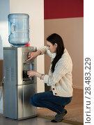 Купить «Young woman using water dispenser at office», фото № 28483229, снято 29 января 2015 г. (c) Ingram Publishing / Фотобанк Лори