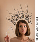 Купить «Stress - woman stressed with headache caused by too many thoughts», фото № 28483981, снято 18 января 2014 г. (c) Ingram Publishing / Фотобанк Лори