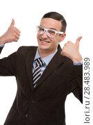 Купить «Smiling young business man thumbs up», фото № 28483989, снято 2 февраля 2013 г. (c) Ingram Publishing / Фотобанк Лори