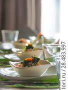 Купить «Caviar salad on table at restaurant», фото № 28483997, снято 12 октября 2013 г. (c) Ingram Publishing / Фотобанк Лори