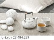 Купить «Tea set at beautiful lounge with nobody», фото № 28484289, снято 19 декабря 2012 г. (c) Ingram Publishing / Фотобанк Лори