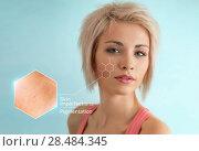 Купить «Bright closeup portrait of beautiful woman with skin crops. Skincare concept», фото № 28484345, снято 18 января 2014 г. (c) Ingram Publishing / Фотобанк Лори