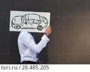 Купить «Business man with new car sign. Dealer or buyer showing car sign. Credit concept», фото № 28485205, снято 20 июля 2014 г. (c) Ingram Publishing / Фотобанк Лори