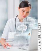 Купить «Female doctor scanning brain of patient with help of modern technology», фото № 28485297, снято 20 декабря 2012 г. (c) Ingram Publishing / Фотобанк Лори