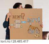 Купить «Buy or rent realty. Couple thinking and choosing, Mortgage concept», фото № 28485417, снято 10 октября 2014 г. (c) Ingram Publishing / Фотобанк Лори