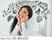 Купить «Young pretty woman thinking of healthy food closeup face portrait and sketches overhead», фото № 28485633, снято 7 мая 2013 г. (c) Ingram Publishing / Фотобанк Лори