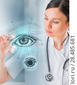 Купить «Female medical doctor working with virtual interface examining human eye», фото № 28485681, снято 20 декабря 2012 г. (c) Ingram Publishing / Фотобанк Лори