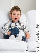 Купить «Cute little boy playing at home on sofa», фото № 28486109, снято 31 марта 2013 г. (c) Ingram Publishing / Фотобанк Лори