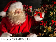 Купить «Santa Claus decorating Christmas tree in dark room», фото № 28486213, снято 31 января 2013 г. (c) Ingram Publishing / Фотобанк Лори