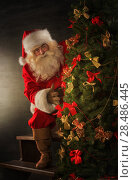 Купить «Santa Claus decorating Christmas tree in dark room», фото № 28486445, снято 31 января 2013 г. (c) Ingram Publishing / Фотобанк Лори