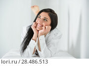 Купить «Carefree and confident in herself pretty woman wearing man's shirt and dreaming», фото № 28486513, снято 7 мая 2013 г. (c) Ingram Publishing / Фотобанк Лори