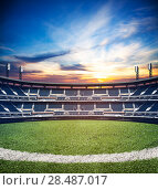 Купить «Mixed media image of empty soccer football stadium», фото № 28487017, снято 9 июля 2014 г. (c) Сергей Новиков / Фотобанк Лори