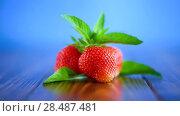 Купить «Ripe red organic strawberry», видеоролик № 28487481, снято 30 мая 2018 г. (c) Peredniankina / Фотобанк Лори