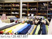 Купить «different fabric bolts exposed on shelves», фото № 28487897, снято 2 марта 2018 г. (c) Яков Филимонов / Фотобанк Лори