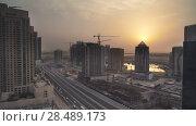 Downtown Dubai at dawn stock footage video (2018 год). Редакционное видео, видеограф Юлия Машкова / Фотобанк Лори