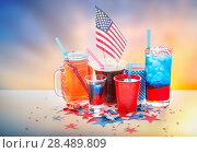Купить «drinks on american independence day party», фото № 28489809, снято 28 мая 2015 г. (c) Syda Productions / Фотобанк Лори