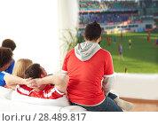 Купить «friends or football fans watching soccer at home», фото № 28489817, снято 14 августа 2016 г. (c) Syda Productions / Фотобанк Лори