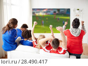 Купить «friends or football fans watching soccer», фото № 28490417, снято 14 августа 2016 г. (c) Syda Productions / Фотобанк Лори
