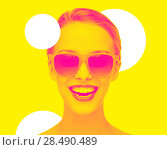 Купить «happy amazed teenage girl in sunglasses», фото № 28490489, снято 31 октября 2015 г. (c) Syda Productions / Фотобанк Лори
