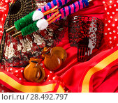 Купить «Espana typical from Spain with castanets rose fan bullfighter and flamenco comb», фото № 28492797, снято 14 августа 2018 г. (c) Ingram Publishing / Фотобанк Лори