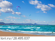 Купить «Kite surf in Denia Oliva Gandia in Valencian Community at Mediterranean sea», фото № 28495037, снято 22 июня 2018 г. (c) Ingram Publishing / Фотобанк Лори