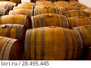 Купить «Wine barrels oak wood in mediterranean winery», фото № 28495445, снято 4 сентября 2013 г. (c) Ingram Publishing / Фотобанк Лори