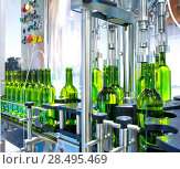 Купить «White wine in glass bottling machine at winery», фото № 28495469, снято 4 сентября 2013 г. (c) Ingram Publishing / Фотобанк Лори