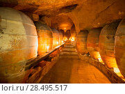Купить «Antique winery in Spain with clay vessels terracotta amphora  pots Mediterranean tradition with candlelight», фото № 28495517, снято 10 октября 2013 г. (c) Ingram Publishing / Фотобанк Лори
