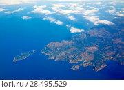 Aerial view of Majorca north of Mallorca balearic island in blue Mediterranean (2013 год). Стоковое фото, фотограф Tono Balaguer / Ingram Publishing / Фотобанк Лори