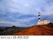 Купить «Cap de Favaritx sunset lighthouse cape in Mahon at Balearic Islands of Spain», фото № 28495929, снято 28 мая 2013 г. (c) Ingram Publishing / Фотобанк Лори
