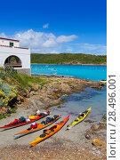 Купить «Menorca Es Grau kayak adventure in Balearic Islands of Spain», фото № 28496001, снято 30 мая 2013 г. (c) Ingram Publishing / Фотобанк Лори