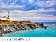 Купить «Cap de Favaritx sunset lighthouse cape in Mahon at Balearic Islands of Spain», фото № 28496009, снято 28 мая 2013 г. (c) Ingram Publishing / Фотобанк Лори