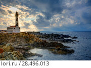 Купить «Cap de Favaritx sunset lighthouse cape in Mahon at Balearic Islands of Spain», фото № 28496013, снято 28 мая 2013 г. (c) Ingram Publishing / Фотобанк Лори
