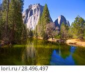 Купить «Yosemite Merced River and Half Dome in California National Parks US», фото № 28496497, снято 18 апреля 2013 г. (c) Ingram Publishing / Фотобанк Лори