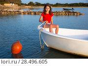 Купить «Kid girl pretending to be a sailor in boat bow at Formentera Balearic Islands», фото № 28496605, снято 17 декабря 2018 г. (c) Ingram Publishing / Фотобанк Лори