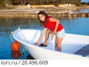 Купить «Kid girl pretending to be a sailor in boat bow at Formentera Balearic Islands», фото № 28496609, снято 22 января 2019 г. (c) Ingram Publishing / Фотобанк Лори