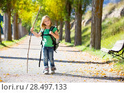 Купить «Blond explorer kid girl walking with backpack hiking in autumn trees track holding stick», фото № 28497133, снято 5 октября 2013 г. (c) Ingram Publishing / Фотобанк Лори