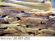 Купить «Cod fish salted codfish in a row stacked in market», фото № 28497253, снято 6 октября 2013 г. (c) Ingram Publishing / Фотобанк Лори