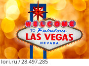 Welcome to Fabulous Las Vegas sign blurred highlights bokeh Nevada photo mount (2013 год). Стоковое фото, фотограф Tono Balaguer / Ingram Publishing / Фотобанк Лори