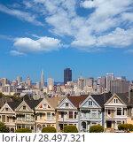 Купить «San Francisco Victorian houses in Alamo Square at California USA», фото № 28497321, снято 21 апреля 2013 г. (c) Ingram Publishing / Фотобанк Лори