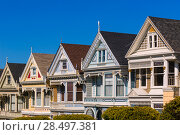 Купить «San Francisco Victorian houses in Alamo Square at California USA», фото № 28497381, снято 21 апреля 2013 г. (c) Ingram Publishing / Фотобанк Лори